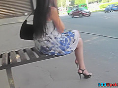 skirt looks hot on skinny ass in accidental upskirt