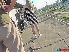 hot upskirt porn with auburn hair gal in a public place