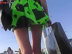 hot g string shot of blondes ass in upskirt video