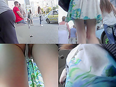 Skinny ass stunner wears g-string in upskirt video
