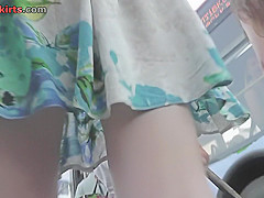 skinny ass stunner wears g string in upskirt video