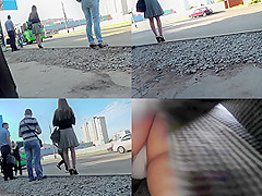 upskirt footage of g string of a girl in a line skirt