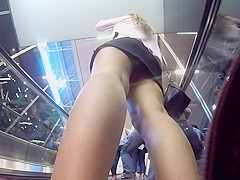 upskirt of black miniskirt