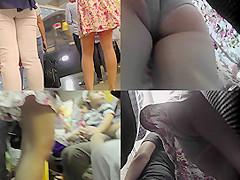 Bitch in mini skirt filmed by upskirting voyeur
