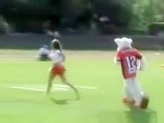 Cheerleader exposed at game