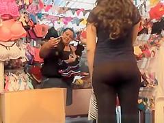 Teen in black see through leggings