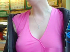 Woman flashes tit and eats sandwich