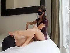 Man licks mistress feet and handjob
