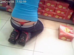 sales girl accidentally showing thong