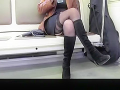 Upskirt on sexy lady in train