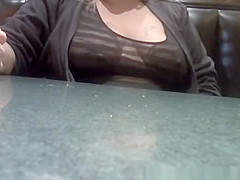 Exhibitionist wife in see through top