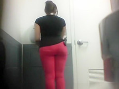 Ebony girl caught peeing in toilet