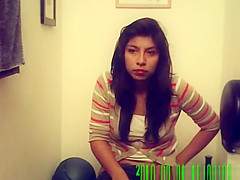 Girl caught by hidden camera taking a piss