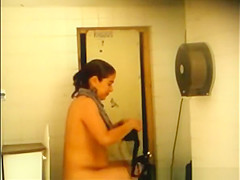 co worker pissing and cleaning her pussy