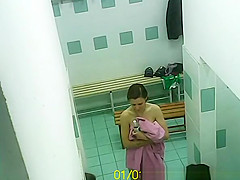 Women naked in locker room