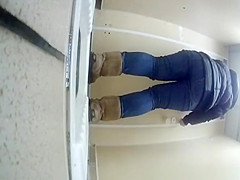 Teen in jeans caught peeing