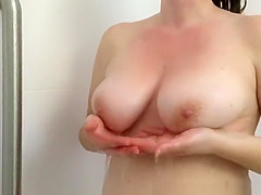 wife with nice pair of tits showering