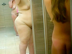 Big fat ass chubby woman spied in shower room