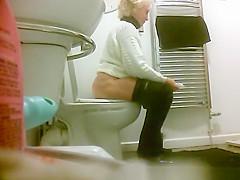 Jacqui on the toilet