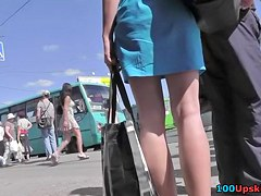 Marvelous blue summer suit upskirt