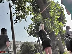 Pleasant outdoor upskirt with blond sweetheart