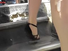Eye-catching golden-haired upskirt footage
