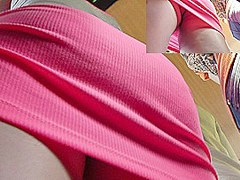 Peek up constricted pink mini petticoat