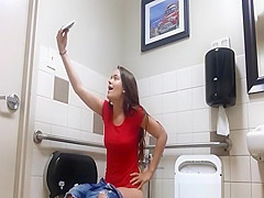 teen taking selfies while peeing