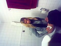 Hot blonde peeing on hidden cam