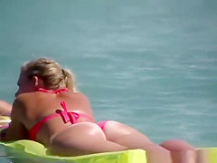 sexy ass girl in floating air mattress