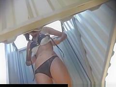 Brunette hairy pussy in beach cabin