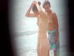 Nerd nudist naked at beach