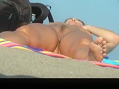 small bush nudist woman spied sunbathing