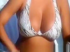 Big tits woman in bikini
