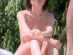 Big tits nudist woman with short hair