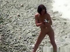 Short hair nudist woman with nice body