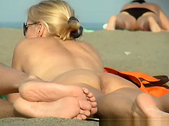 Nice pussy, crotch and asshole in beach