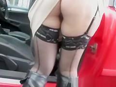 Upskirt on car