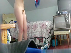Hidden cam in girls bedroom catches her naked