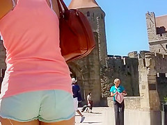 tight blue shorts cameltoe and ass
