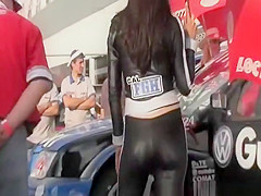 Car racing promo girls cameltoes