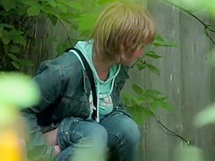 short hair blonde caught peeing outdoors