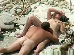 Nudist mature couple beach fuck