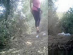 Sports women peeing outdoors