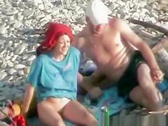 Nudist couple spied having sex