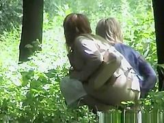Two women caught by pee voyeur pissing