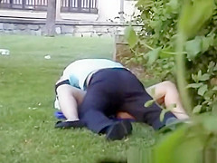 Horny couple spied fucking in public garden