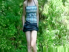 girl no panties peeing nature