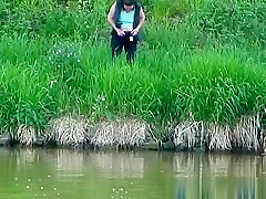 Peeing in the grass
