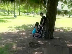 Blowjob in public park